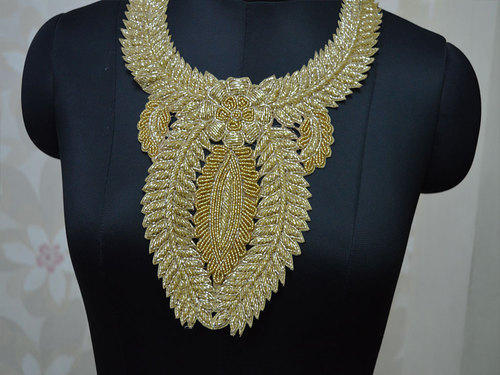 Gold handcrafted neckline patches embroidered applique for