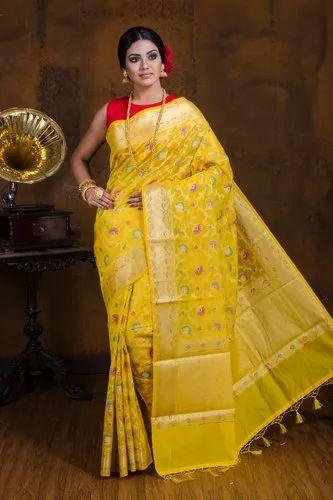 Semi Tussar Meena Saree