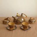 Mughal Brown Hand Painted Tea Set
