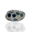 Blue Sapphire Pave Silver 925 Finding Bead