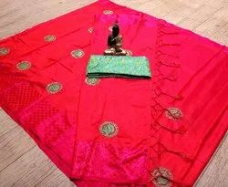 Heavy Embroidery Jacquard Saree with Blouse