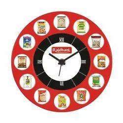 Red Rajdhani Logo Printed Promotional Wall Clock