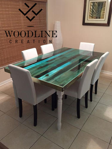 Multiple Epoxy Resin Dining Table Top Woodline Creation
