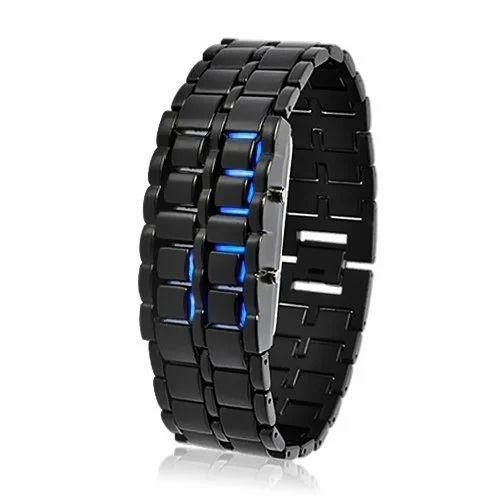 Blue Led Digital Black Dial Uni Bracelet Watch