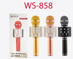 Wireless WS-858 Bluetooth Microphone Handheld Stand with Speaker for Cellphone