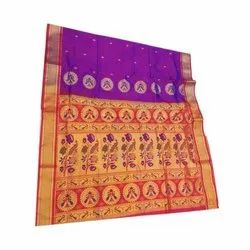 Party Wear Artwork Paithani Saree, Packaging Type: Plastic Bag