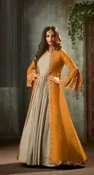 Anjani Art Georgette Hazelwood Beige Silk Gown With Turmeric Yellow Jacket