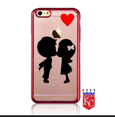 newest 5a07b c2154 3d Printed Boy & Girl Kissing Under Red Heart Silicone Back Cover For  Iphone Se Rose Gold