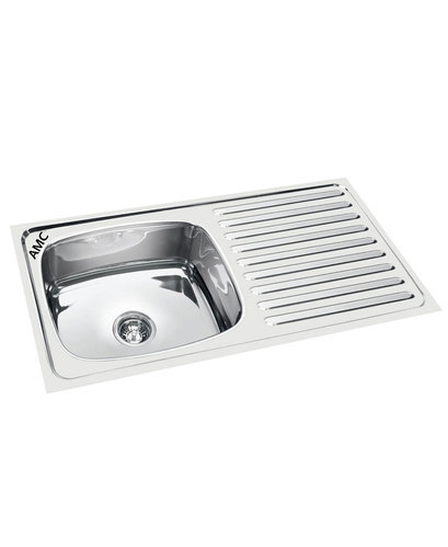 amc single bowl sink with drain board 32x18x7 - Kitchen Sink With Drainboard