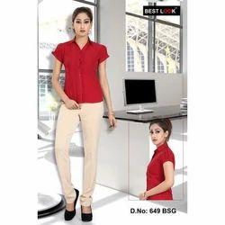Women Red Formal Shirt