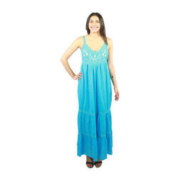 Ladies Sky Blue Long Dress