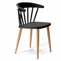 Mild Steel Legs and Wooden Finish Coating Bunny Side Chair