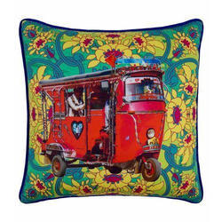 Lal Auto Rickshaw Glaze Cotton Cushion Cover