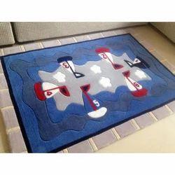 Multi-color Rectangular Embroidered Floor Carpet