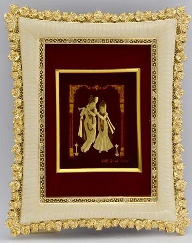 029f29e01e7 Rectangular Gold Plated Krishna-Radha Wall Decor Frame