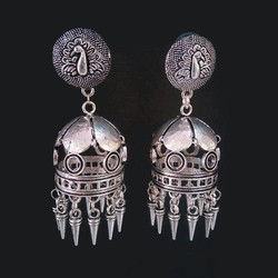 Metal Earring With Peacock Stud