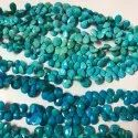 Natural Arizona Turquoise Stone Faceted Pear Shape Briolette Beads Strand