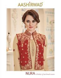 Unstitched Embroidered Party Wear Designer Suits