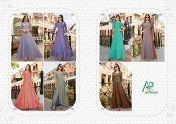 Party wear khatli hand work  gown