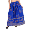 Cotton Jaipuri Blue Designer Skirts
