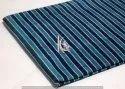 Indigo Blue Dabu Hand Block Stripe Printed Cotton Fabric
