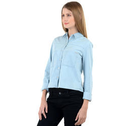 Blue Ladies Surplus Denim Crop Shirt