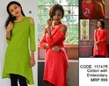 Embroidered Cold-Shouldered Ladies Casual Cotton Kurti