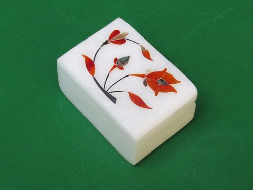 Decorative Inlay Work White Marble Boxes