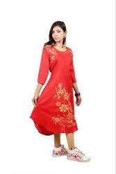 Western Stitched Red Printed Kurti, Size: Medium