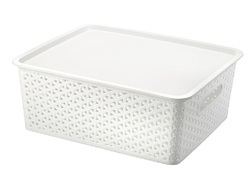 Medium Plastic Storage Basket With Lid