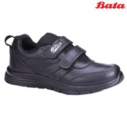 Bata Speed Black Unisex Strap School Shoes, Size: 2-5 (uk)