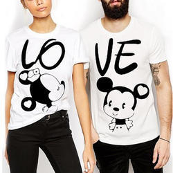 M , L. XL Cotton Couple Printed T Shirt