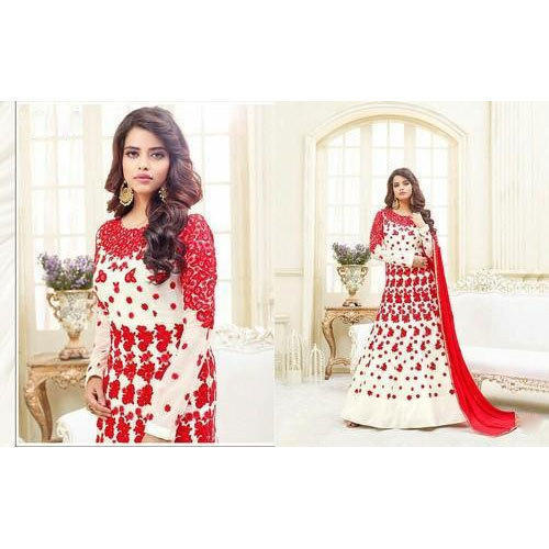 f1d286131b83a Chiffon And Georgette White And Red Ladies Floor Length Anarkali Suit