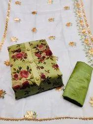 Modar Silk Green Desinger Dress Material (I will Provide Costmise Stiching)