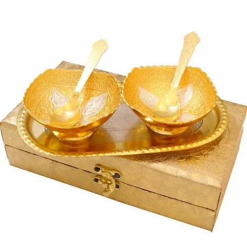 Gold Plated 2 Piece Brass Bowl Set for Gift