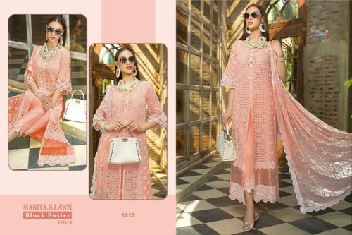 263bd96d42 Light Orange Embroidered Shree Fabs Maria B Lawn Blockbuster 4 Pakistani  Dress