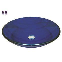 Blue Round Glass Wash Basin
