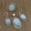 Fancy Rose Quartz Gemstone Sterling Silver New Jewelry Set