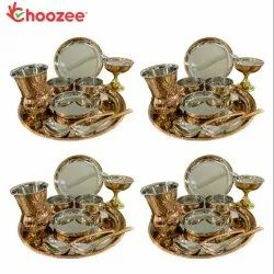 Choozee - Copper Thali Set of 4 (40 Pcs) Plate, Bowl, Spoon, Matka Glass & Ice-Cream Cup