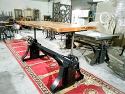 Mild Steel Vintage Industrial Crank Table Base