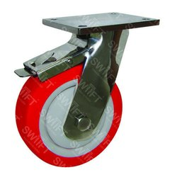 Plate Mounted Caster Wheel with Brake