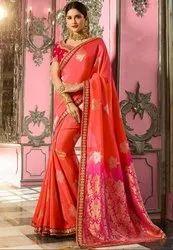 Salmon Pink and Magenta Designer Silk Saree