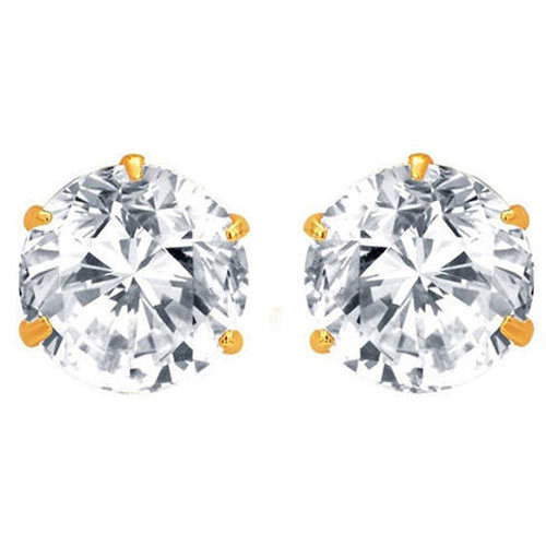 American Diamond Gold Plated Stud Earrings
