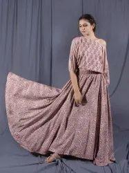 Off Shoulder Crop Top & Long Skirt Jaipuri Block Print Cotton Wear Dress for Party