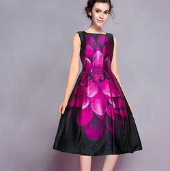 Multicolor Satin Western Dress, Length (inch): 36 To 38