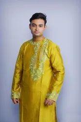 Party Embroidered Silk Trendy Gents Kurta, Round neck, Size/Dimension: Medium