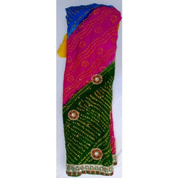 Printed Casual Wear Bandhani Saree, With blouse piece, 5.5 m (separate blouse piece)