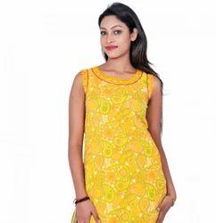 Yellow Women Thigh Length Kurta