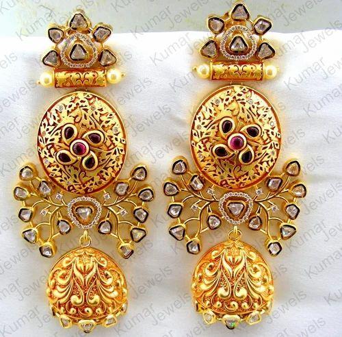 66928a8cdc9 Kumar Jewels Golden Dangle Ethnic Filigree Kundan Embossed Earring ...