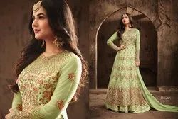 Anarkali Unstitched Heavy Embroidery Stone Work Salwar Kameez